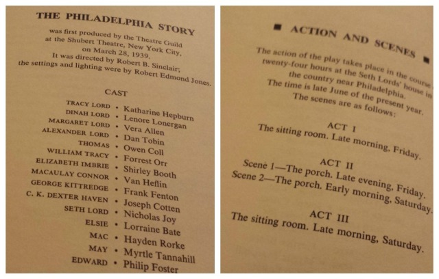 Reel Librarians | Cast and scenes lists for 'The Philadelphia Story' play