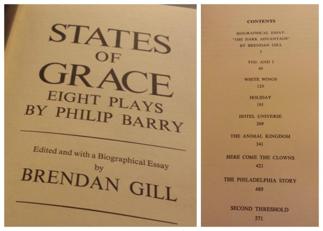 Reel Librarians | Title page and table of contents for a compilation of Philip Barry's plays