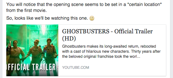 Facebook message about new Ghostbusters trailer