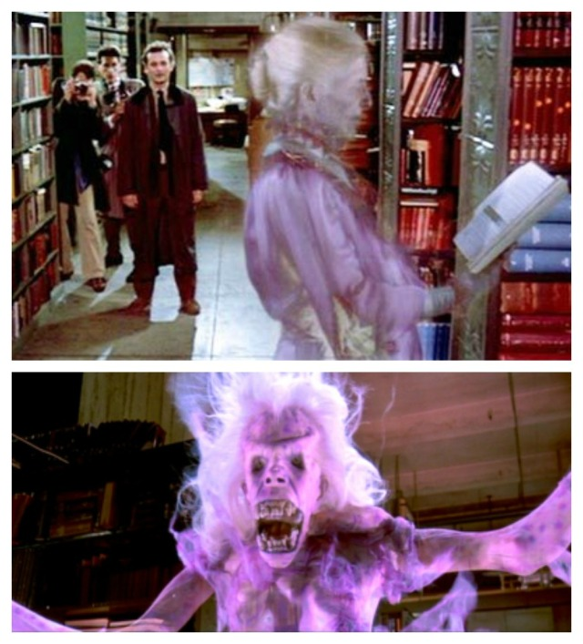 The varied facial expressions of the library ghost in Ghostbusters (1984)
