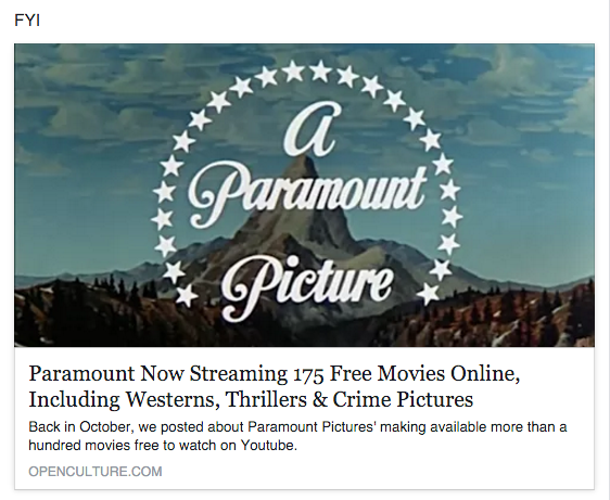 Reel Librarians | Screenshot of Paramount Vault Facebook feed