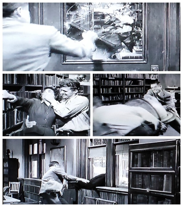 Reel Librarians | Screenshot collage of the library assault scene in 'Blackboard Jungle' (1955)