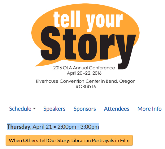 Reel Librarians | Screenshot from OLA program schedule