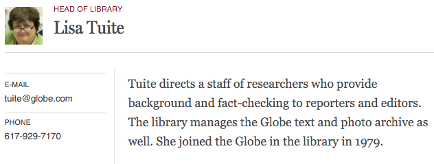 Librarian staff profile page on Boston Globe site