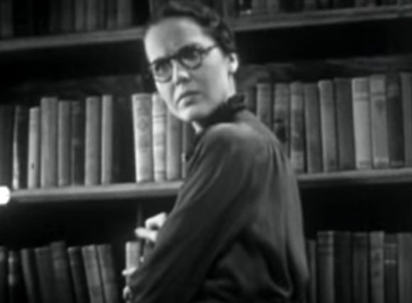 In Navy Blues (1937), the librarian glares at the male lead after he looks up her skirt while she's atop the library ladder.