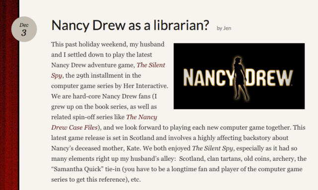 Reel Librarians | Screenshot of 'Nancy Drew as a librarian?' post