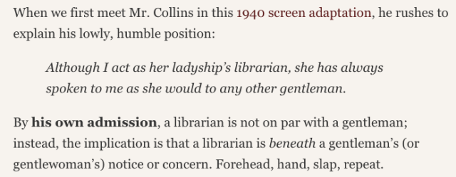 Screenshot of 'Pride and Prejudice and librarians' post