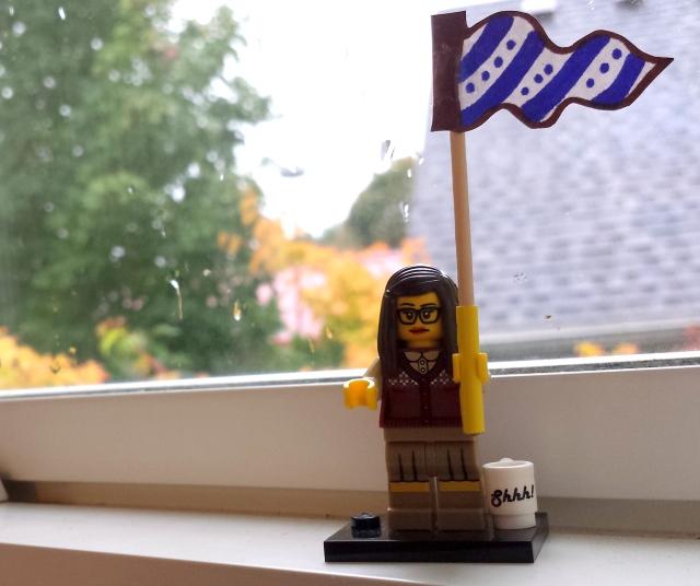 Lego Librarian celebrates!