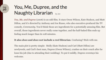 """Reel Librarians   Screenshot from 'You, Me, Dupree, and the Naughty Librarian"""" post"""