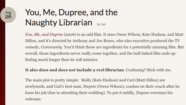"Reel Librarians | Screenshot from 'You, Me, Dupree, and the Naughty Librarian"" post"
