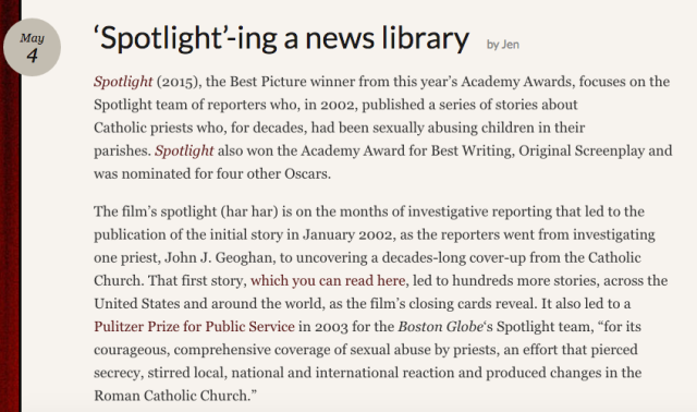 Reel Librarians | Screenshot from 'Spotlight'ing a new library post