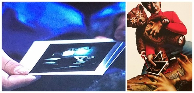 Polaroids in a scene from, and poster for, The Pit (1981)