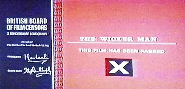 Reel Librarians | Screenshot of X rating card for 'The Wicker Man' (1973)