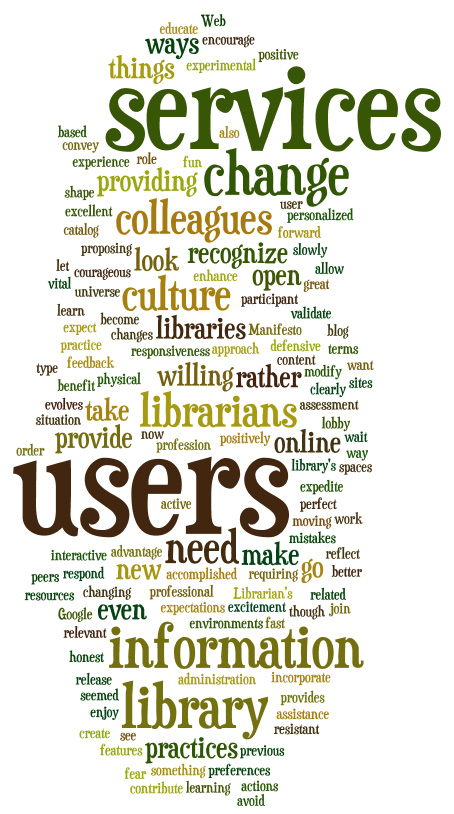 """A Librarian's 2.0 Manifesto - Wordle.net"" by Anna-Stina Takala is licensed under CC BY 2.0"