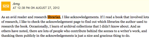 Comment about thanking librarians in acknowledgments