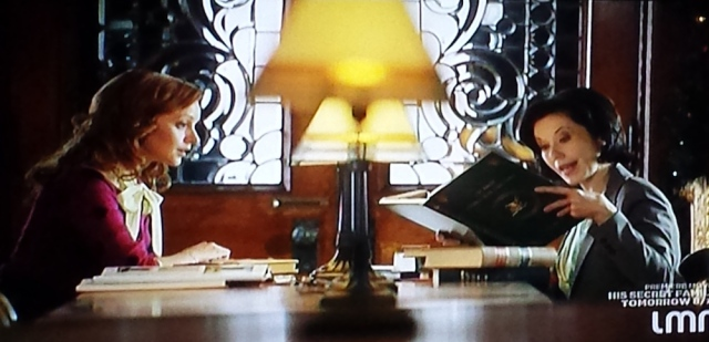 Two librarians talk in The Twelves Trees of Christmas (TV, 2013)