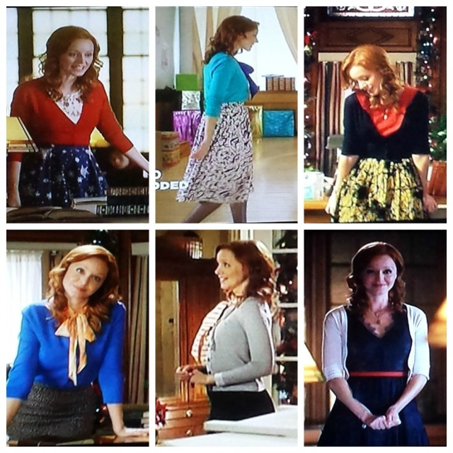 Reel Librarians | Collage of Cheri's librarian style in 'The Twelves Trees of Christmas' (2013, TV)