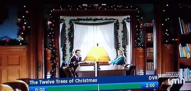 Holiday decorations in the library interior from The Twelves Trees of Christmas (TV, 2013)