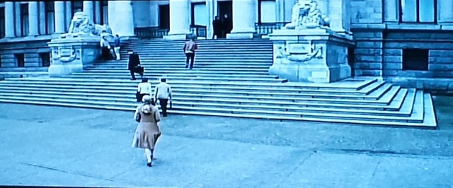Adaline walks up the library steps