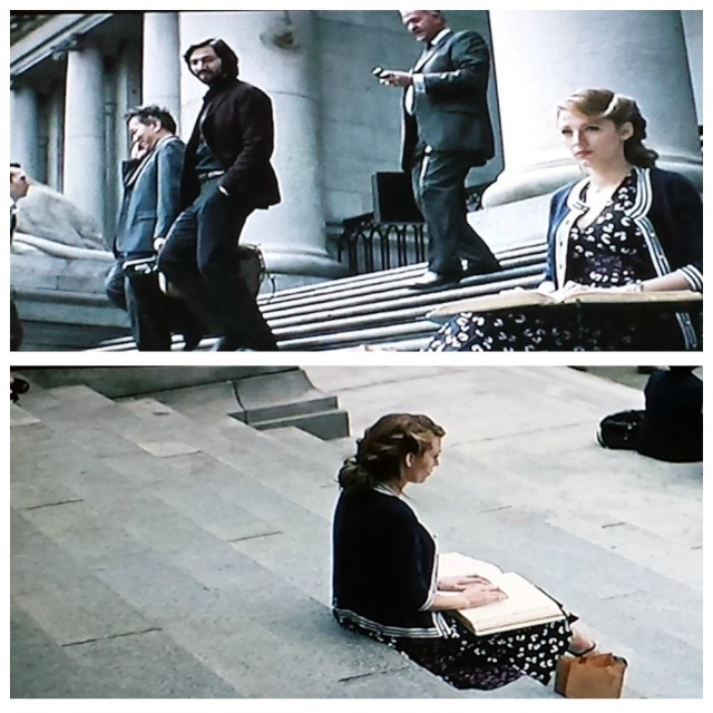 Reel Librarians | A collage of Adaline reading a book in braille on the library steps