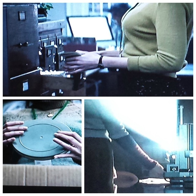 Reel Librarians | A collage of Adaline using older technology in the library
