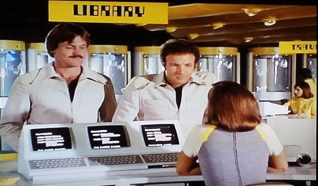 The library Circulation desk in a scene from 'Rollerball (1975)