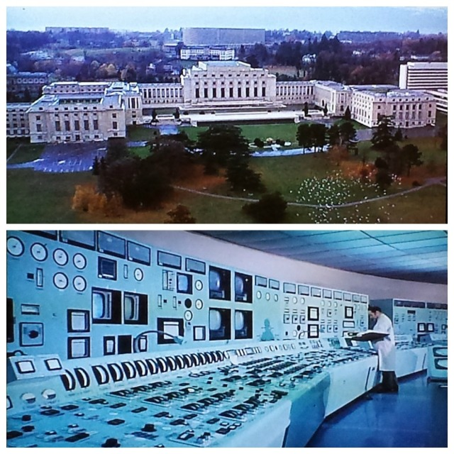 Reel Librarians | Contrasting the exterior and interior of the main library computer center in Geneva, in a scene from 'Rollerball' (1975)