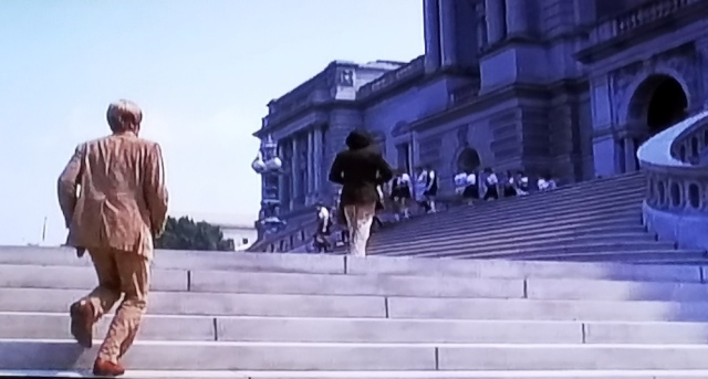 Woodward and Bernstein climb the steps of the Library of Congress