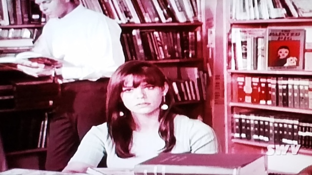 A startled student in the school library in Teenage Mother (1967)