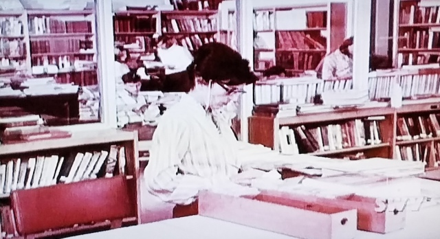School library and librarian in Teenage Mother (1967)
