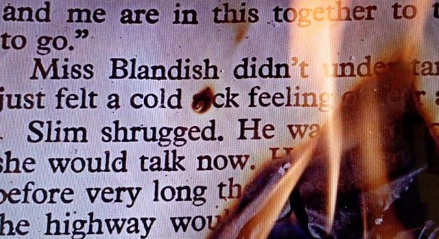 Book burning closeup