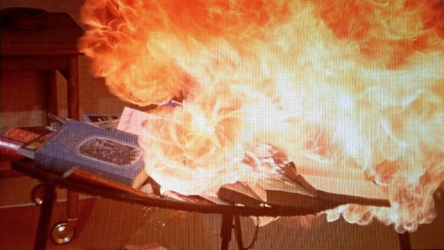Reel Librarians | Montag torches his own collection of books, in a scene from 'Fahrenheit 451' (1966)