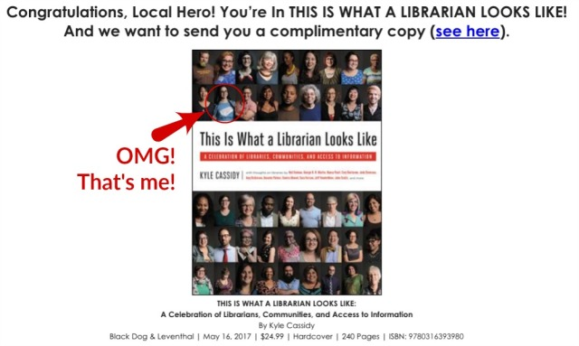 Email and book cover image for 'This is What a Librarian Looks Like'