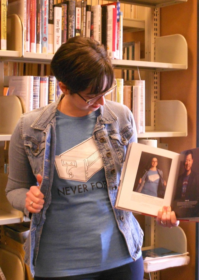 Librarian book and card catalog tee, then and now
