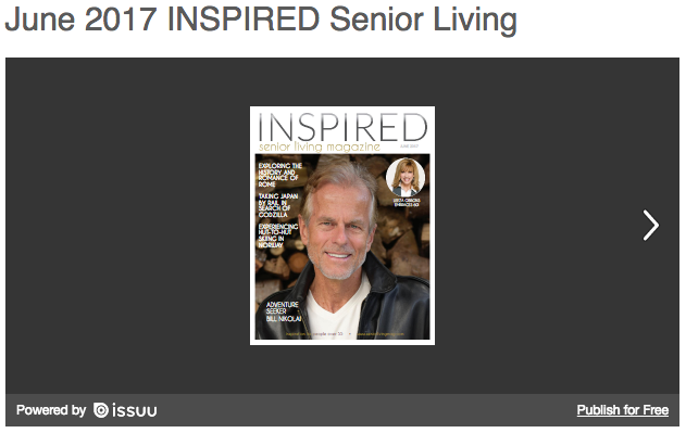 Bill Nikolai's cover and interview in Inspired Senior Living magazine, June 2017