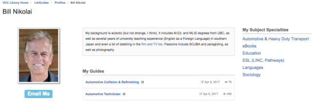 Bil Nikolai's profile page on the VCC LibGuides