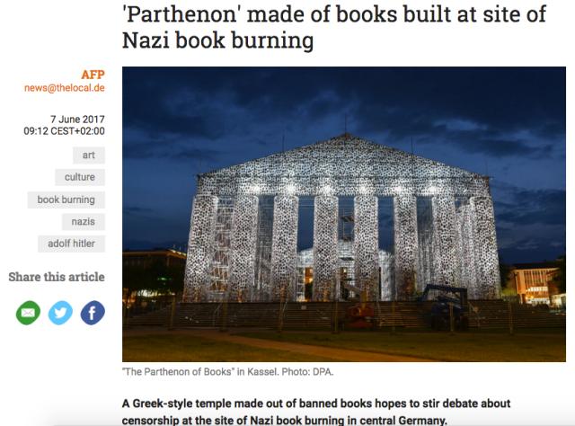Screenshot of modern 'Parthenon' sculpture article