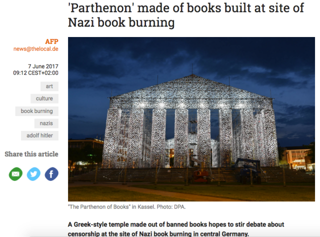 Screenshot of modern 'Parthenon' sculpture article