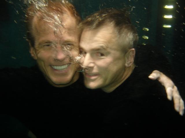 Kibbitzing with Richard Dean Anderson, in 2006, underwater, on the set of Stargate Atlantis. Photo courtesy of Bill Nikolai.