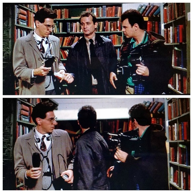 A library bookcase falls -- by accident! -- in a library scene from Ghostbusters (1984)