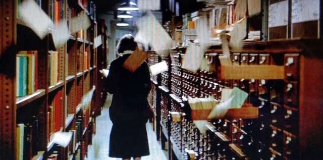 Paranormal activity in the library card catalog, in the opening scene from Ghostbusters (1984)