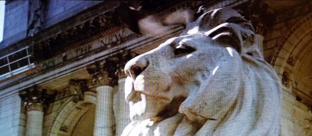 One of the Library Lion statues at the New York Public Library, opening shot of Ghostbusters (1984)