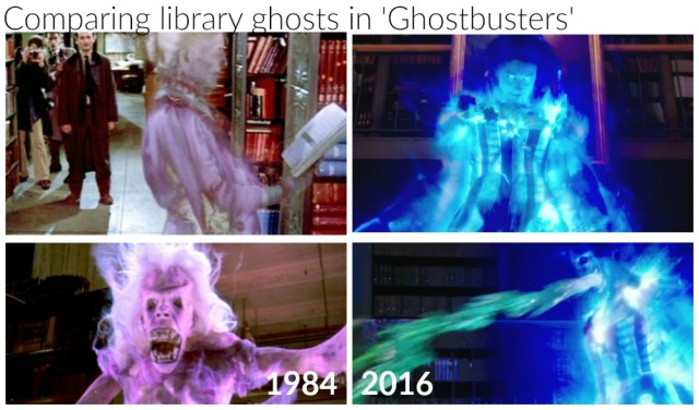 Comparing library ghosts from the two Ghostbusters films