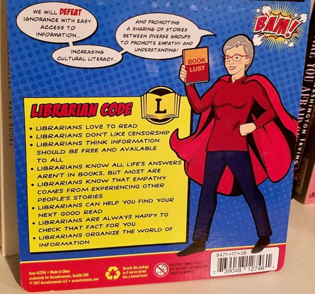 "Librarian action figure and ""librarian code"""