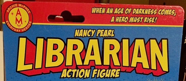 Librarian action figure logo and action call-out