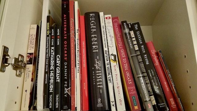 Closeup of movie books