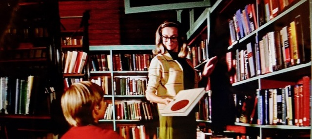 Reel Librarians | Screenshot of a librarian on a ladder in 'My Side of the Mountain' (1969)