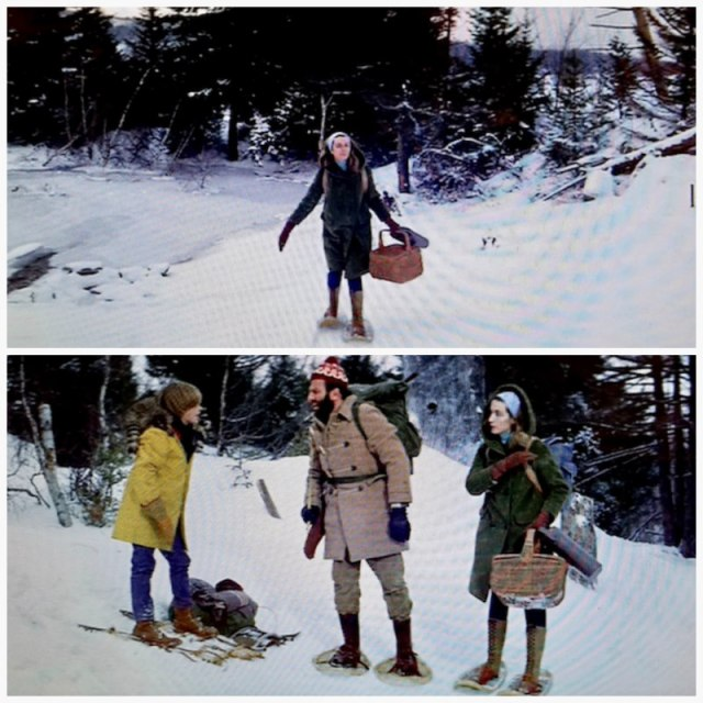 Reel Librarians | Screenshots of the librarian and snow from 'My Side of the Mountain' (1969)