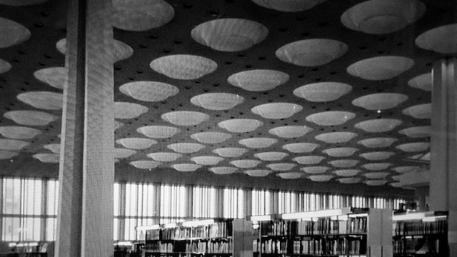 Acoustic ceiling in the public library