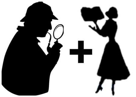 Collage of private detective and reel librarian silhouettes